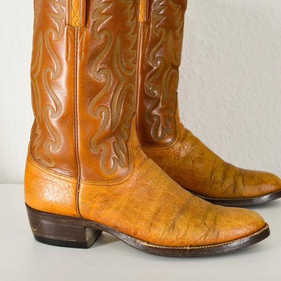 be92a79e1ac Vtg Lucchese Elephant Exotic Cowboy Boots Western
